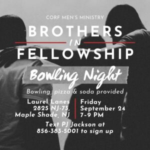 Brothers In Fellowship Men's Ministry Event: Friday, September 24th 7-9pm